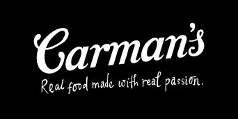 Carman's logo in black rectangle (with tagline)